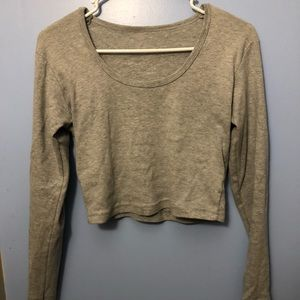 Gray Longsleeve Crop Top